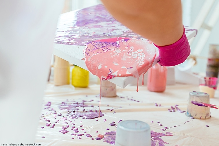 pouring paint