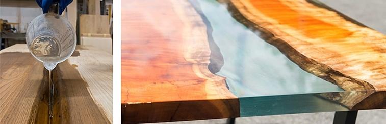 table bois et resine