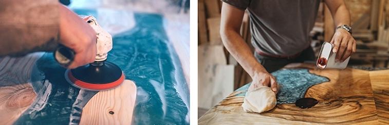 table en bois et resine